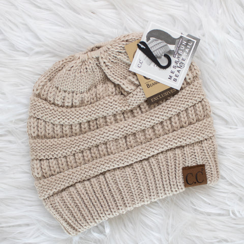 CC Ponytail Beanie (beige) - Calico's Boutique