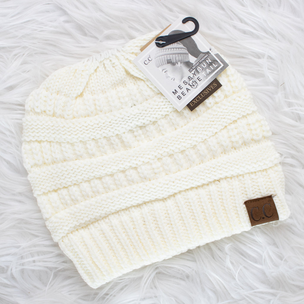 CC Ponytail Beanie (ivory) - Calico's Boutique