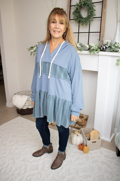 Tiered Hooded Tunic Top (Denim)