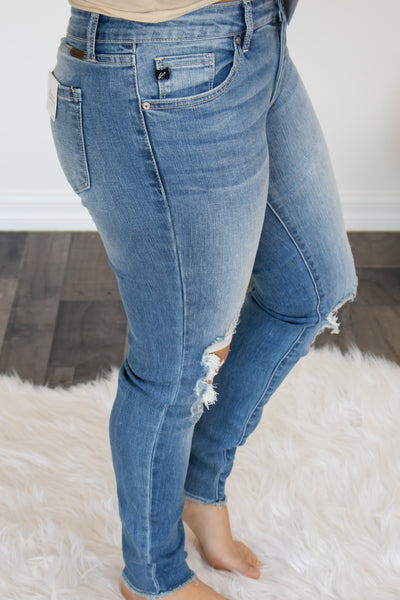 Light Wash Distressed KanCan Jeans - Calico's Boutique