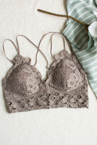 Scalloped Lace Bralette (cocoa) - Calico's Boutique