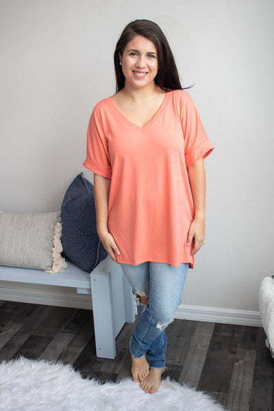 Back To The Basics V-Neck (deep coral) - Calico's Boutique