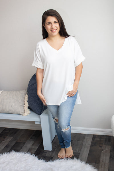 Back To The Basics V-Neck (ivory) - Calico's Boutique