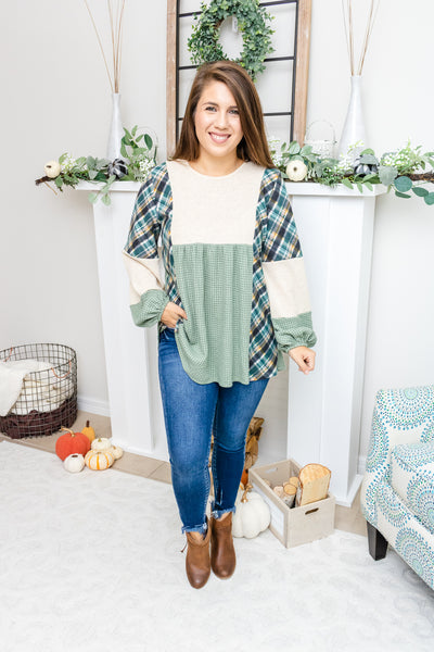 Dressed In Plaid Babydoll Top (olive)