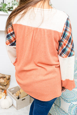 Dressed In Plaid Babydoll Top (rust)