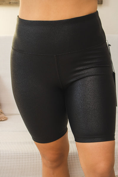 Faux Leather Pebbled Biker Shorts