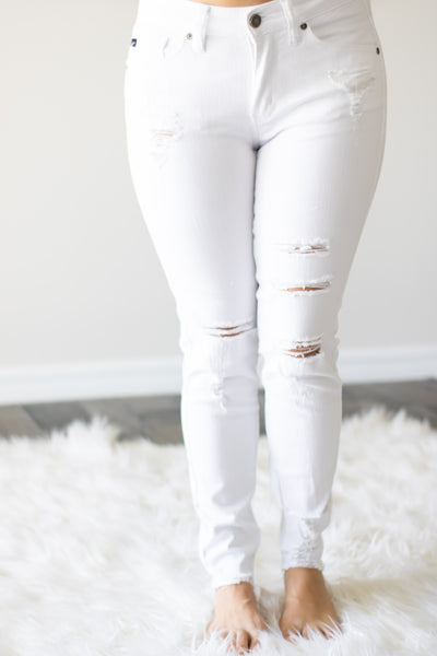 White Distressed KanCan Jeans - Calico's Boutique