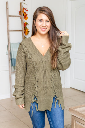Olive Braided Lace Down Sweater