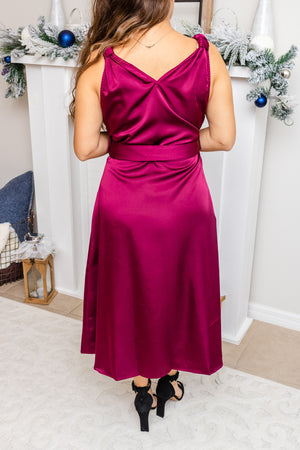 Wrapped In Satin Wine Dress