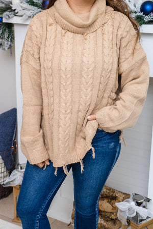 Fringed Turtleneck Braided Sweater (beige)