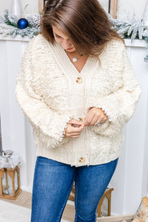 Fuzzy Textured Button Cardigan (ecru)