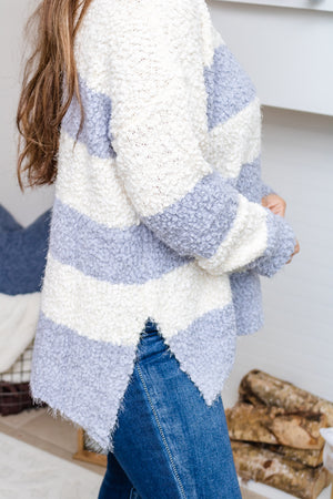 Stay Cozy Striped Popcorn Sweater (blue grey)