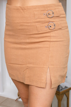 Side Buckle Camel Skirt