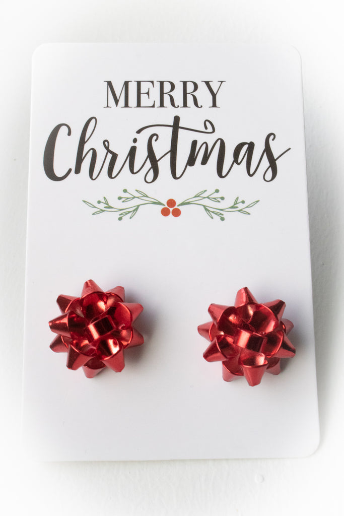 Bow Earrings (red)