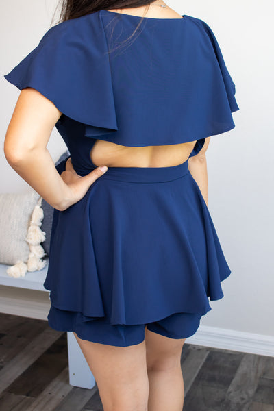 Call Me Navy Romper - Calico's Boutique