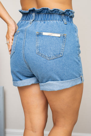 Paper Bag Denim Shorts - Calico's Boutique