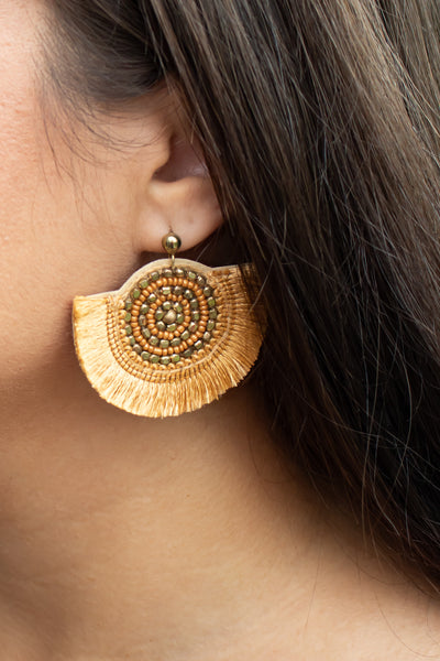 Half Circle Tassel Earrings (gold) - Calico's Boutique