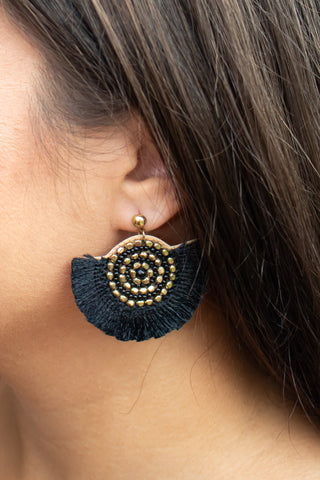 Half Circle Tassel Earrings (black) - Calico's Boutique