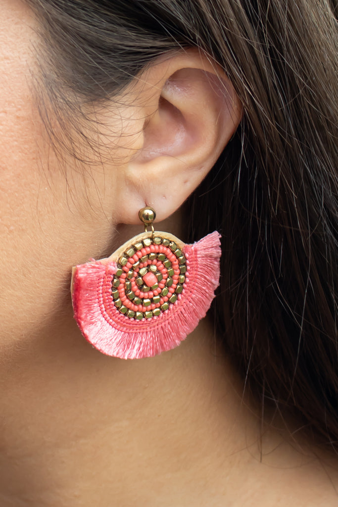 Half Circle Tassel Earrings (coral) - Calico's Boutique