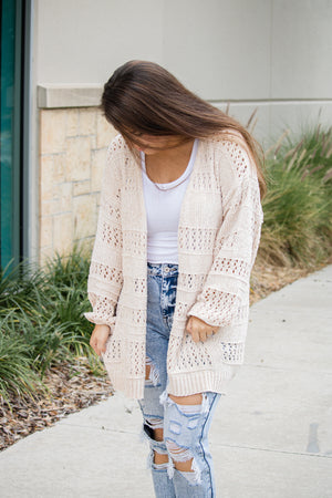 Chenille Open Knit Cardigan (cream)