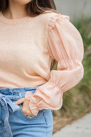 Apricot And Ruffles Knit Top