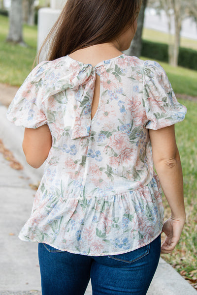 Floral Gardens Puff Sleeve Top