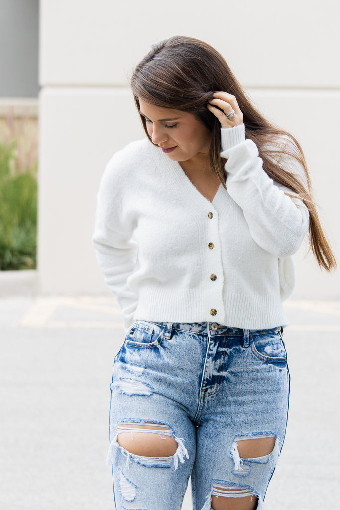 Cropped Sweater Cardigan (ivory)