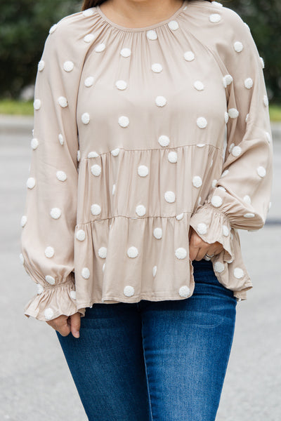 Dotted Days Babydoll Top (khaki)