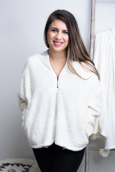 Fuzzy Knit Hooded Pullover - Calico's Boutique