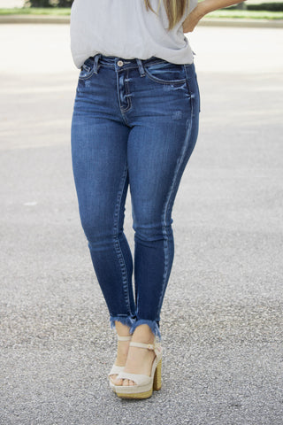 Distressed Ankle KanCan Jeans (dark denim)