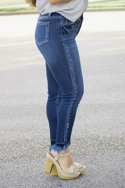 Distressed Ankle KanCan Jeans (dark denim) - Calico's Boutique