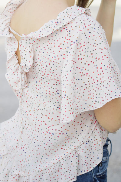 Ruffled And Speckled Crop Top - Calico's Boutique