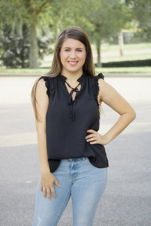 A Touch Of Eyelet Sleeveless Top - Calico's Boutique