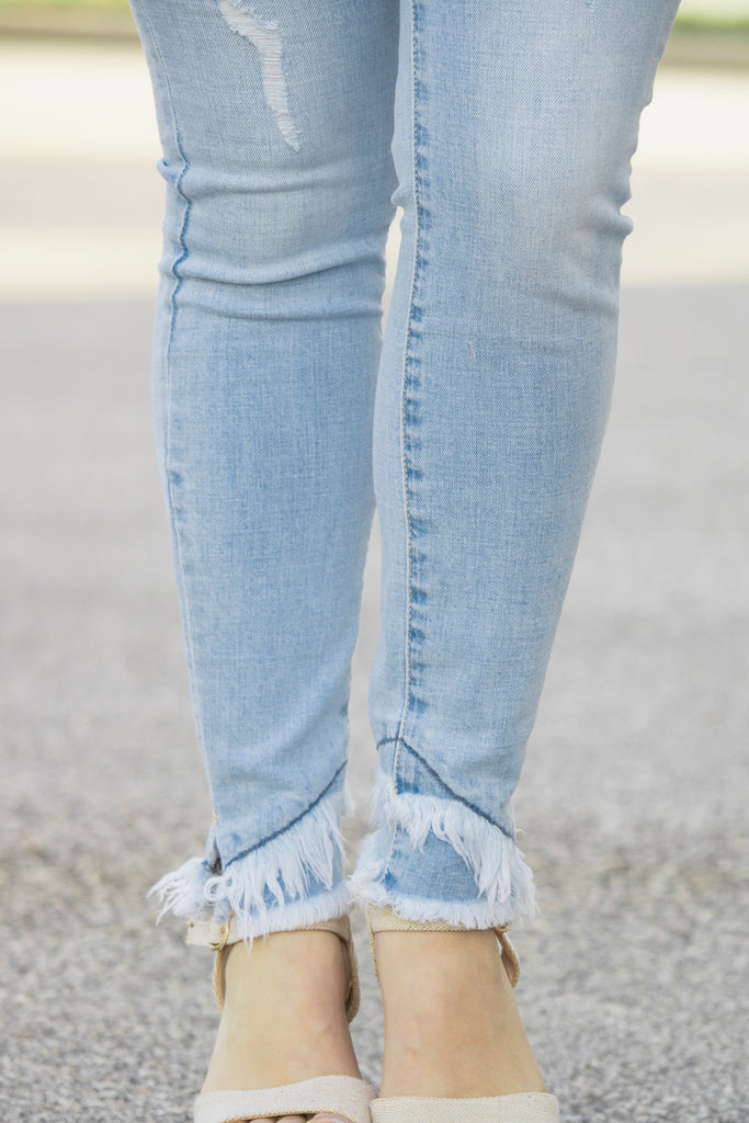Frayed Ankle KanCan Jeans (light denim) - Calico's Boutique