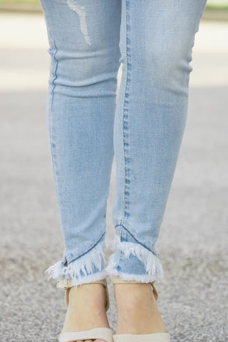 Frayed Ankle KanCan Jeans (light denim)