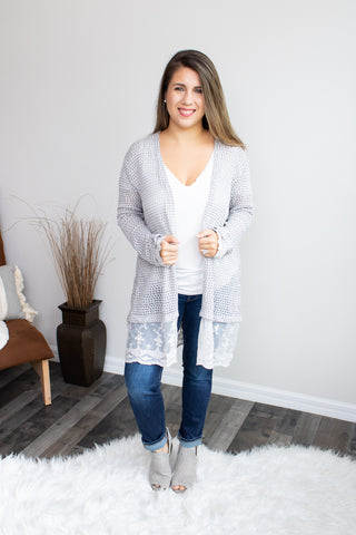 Knit And Lace Cardigan