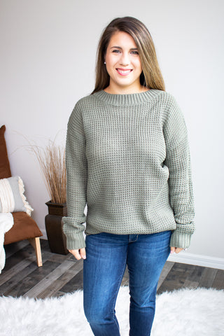 Waffle Knit Sweater (light olive) - Calico's Boutique