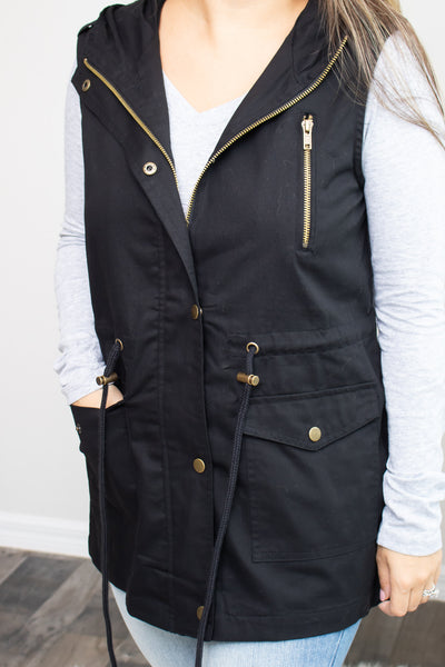 Cargo Vest (black) - Calico's Boutique