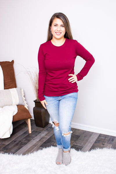 Long Sleeve Crew Neck (cabernet) - Calico's Boutique