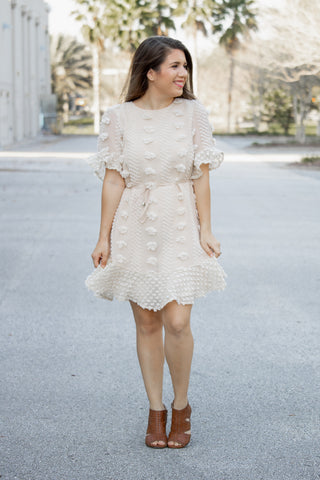 Pom Pom Perfection Dress (cream) - Calico's Boutique