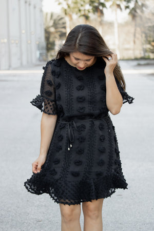 Pom Pom Perfection Dress (black) - Calico's Boutique