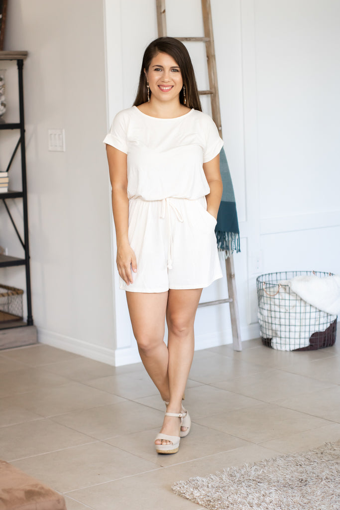 Short Sleeve Stretchy Romper (cream) - Calico's Boutique