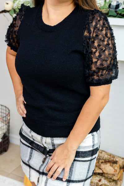 Moonstruck Textured Sleeve Black Top