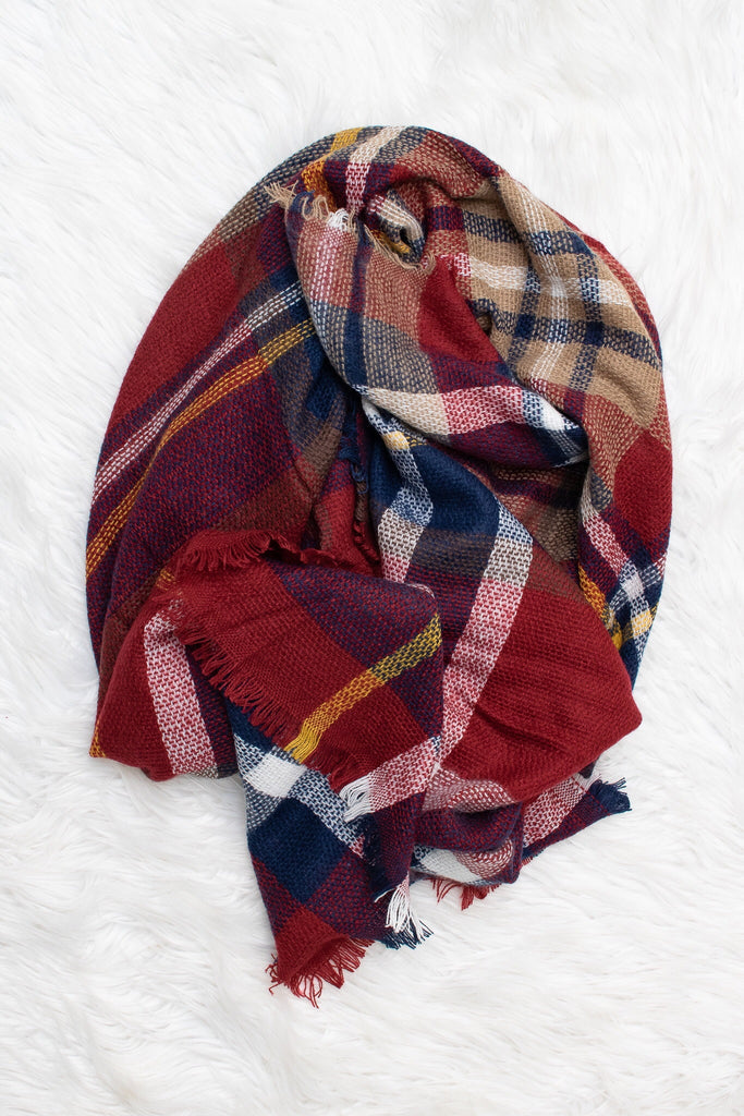 Blanket Scarf (burgundy) - Calico's Boutique