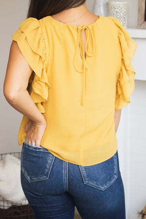 Golden Ruffle Sleeve Top