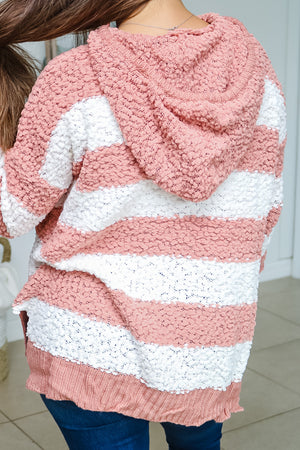 Coral Striped Hooded Popcorn Sweater
