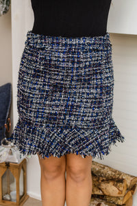 Pops Of Blue Tweed Ruffle Skirt
