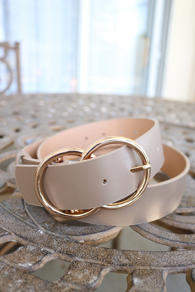 Double Ring Belt (taupe/gold) - Calico's Boutique