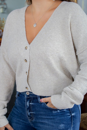 Cropped Sweater Cardigan (oatmeal)