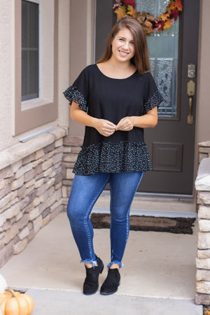 Polka Dot Trim Top (black)